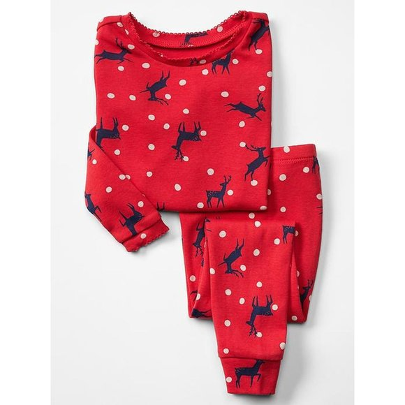 18-24 NWT Baby Gap red reindeer Christmas pajamas